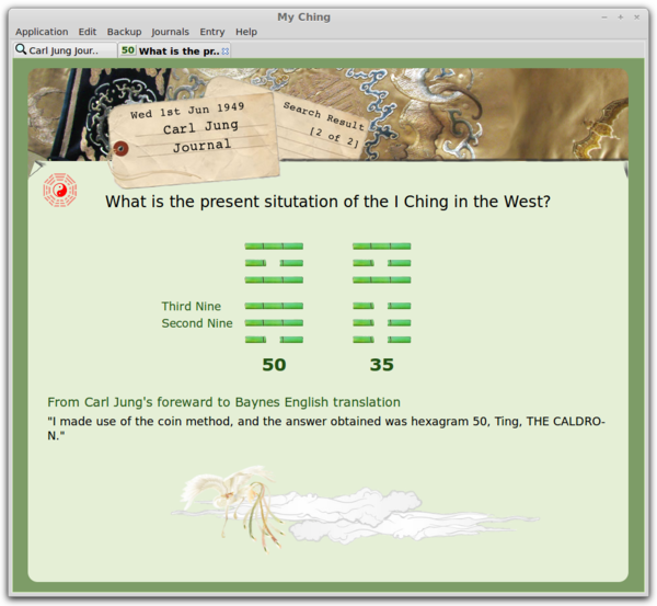 Screenshot of My Ching, the I Ching journal software